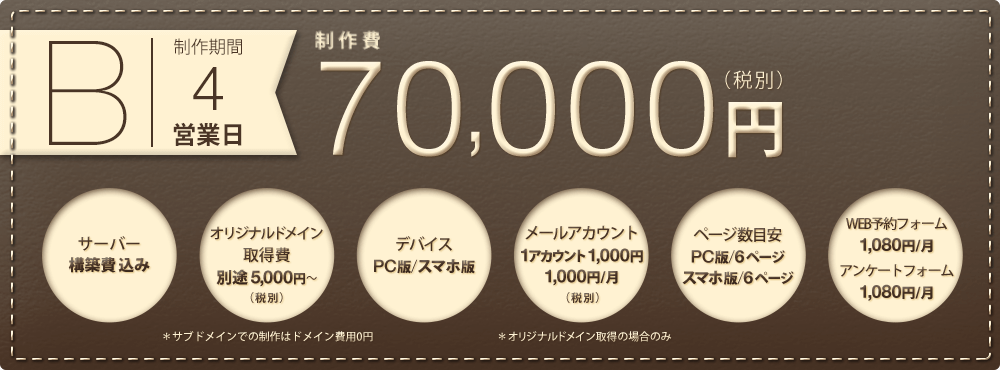B.制作期間3営業日 制作費50,000円(税別)